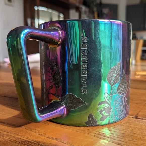 STARBUCKS Fall Roses Black Oil iridescent mug